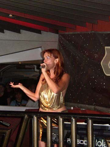 Chase Masterson performing at Creation Con in Las Vegas, 2005
